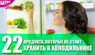 Продукты, которые не нужно держать в холодильнике