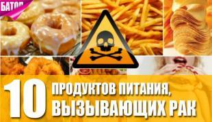 продукты питания, вызывающие рак