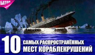 Места, в которых чаще всего тонут корабли