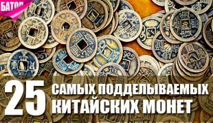 Самые подделываемые монеты Китая